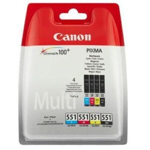 Canon CLI-551, 4x 7ml - originální černá/červená/modrá/žlutá (6509B009)
