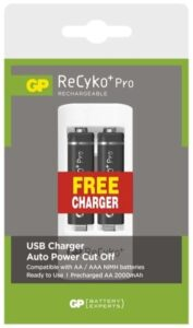 GP ReCyko+ Pro AAA, HR6, 2000mAh, Ni-MH, krabička 2ks + USB nabíječka  černá (1604621000)