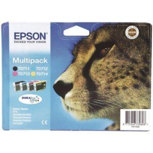 Epson T0715, 3x 6ml, 1x 7ml - originální černá/červená/modrá/žlutá (C13T07154010)