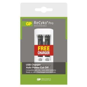 GP ReCyko+ Pro AAA, HR06, 800mAh, Ni-MH + USB nabíječka, krabička 2ks (1604621100)