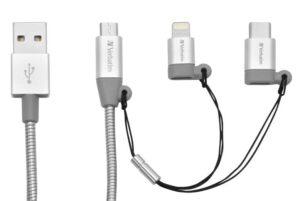 Verbatim USB/micro USB + USB-C + Lightning, 1m stříbrný (48870)