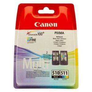 Canon PG-510 / CL-511, 9ml - originální černá/červená/modrá/žlutá (2970B010)