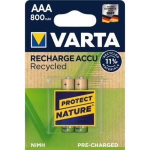 Varta Recycled HR03, AAA, 800mAh, Ni-MH, blistr 2ks (56813101402)