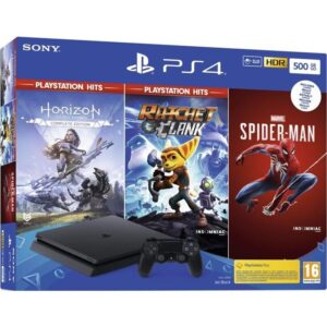 Sony PlayStation 4 500 GB + Spiderman + Horizon Zero Dawn + Ratchet & Clank) (PS719391708)